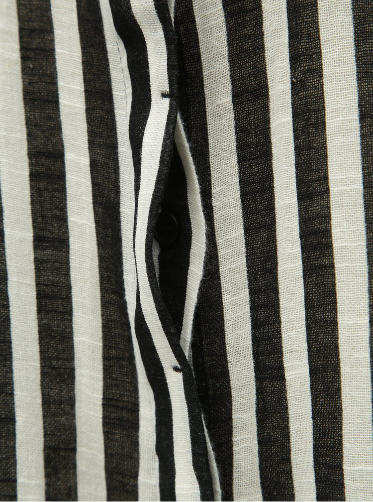 Rochie tip camasa negru-alb in dungi cu buzunar Noisy May Mai
