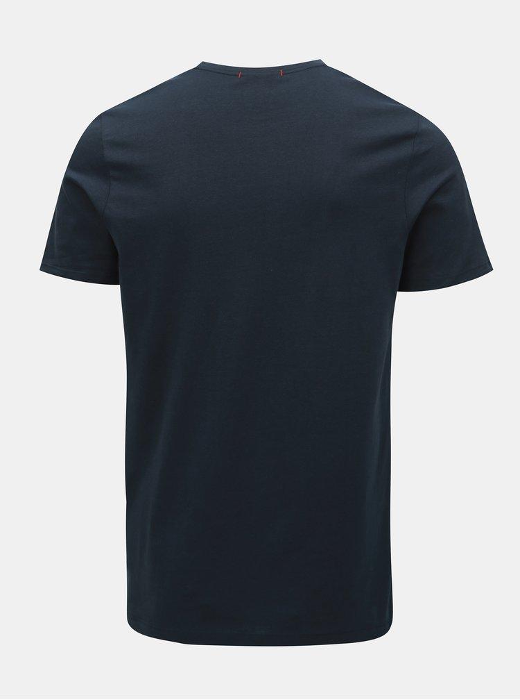 Tricou albastru inchis slim fit cu imprimeu Jack & Jones Voyage