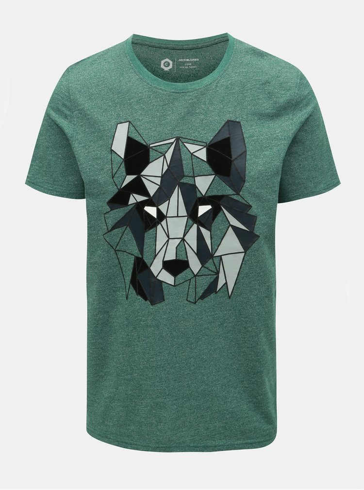 Zelené žíhané slim fit tričko Jack & Jones Raimi