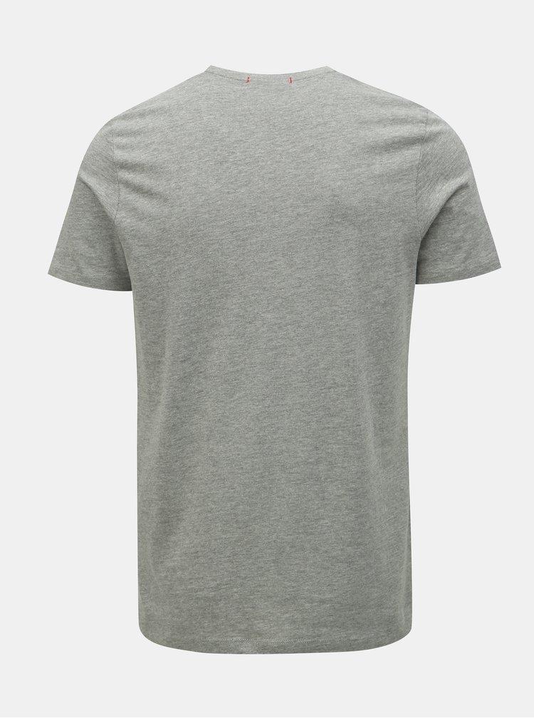 Šedé žíhané slim fit tričko s potiskem Jack & Jones Voyage