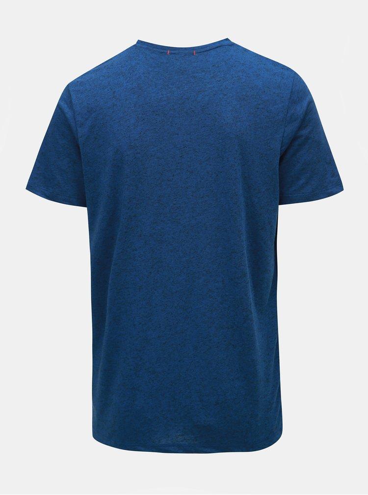 Modré žíhané regular fit tričko s příměsí lnu Jack & Jones Tuco