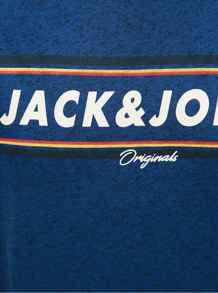 Modré melírované regular fit tričko s prímesou ľanu Jack & Jones Tuco