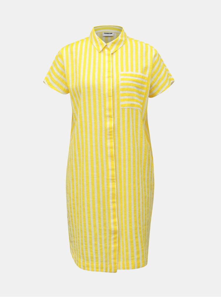 Bielo–žlté pruhované košeľové šaty s vreckom Noisy May Mai