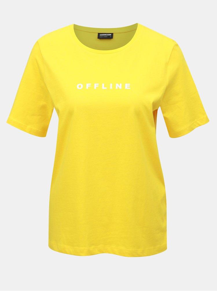 Tricou galben cu imprimeu Noisy May Offline