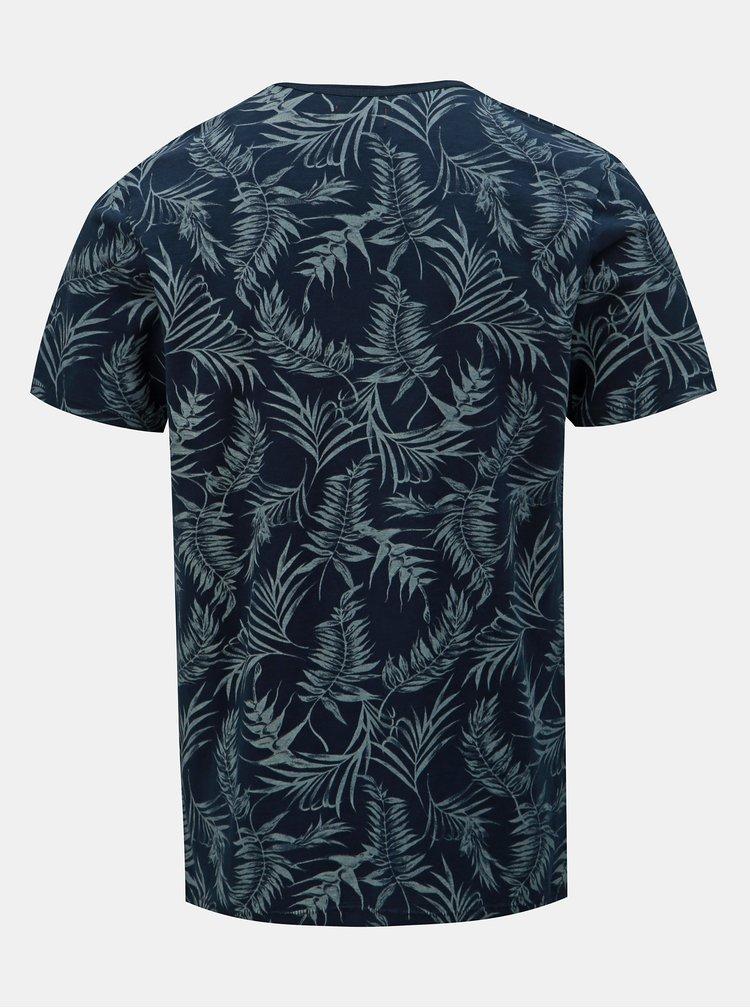 Tmavomodré vzorované slim fit tričko s vreckom Jack & Jones Sean