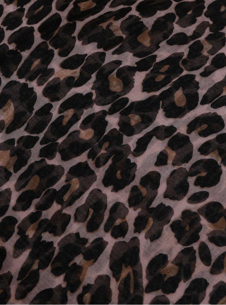 Hnědo-černý šátek s leopardím vzorem Pieces Carrie