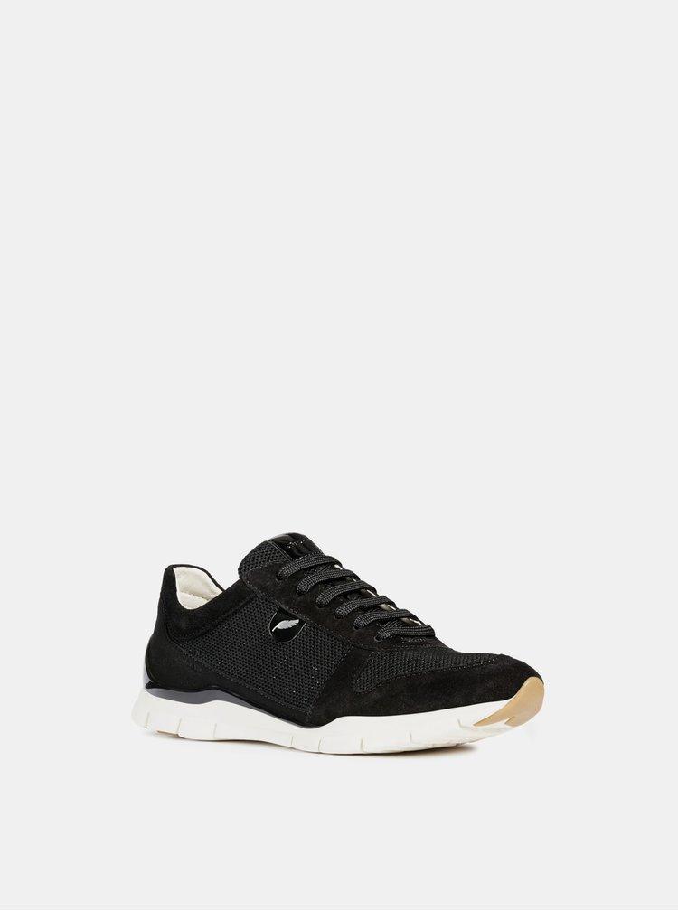 Pantofi sport negri de dama din piele intoarsa cu irizatii metalice Geox Sukie