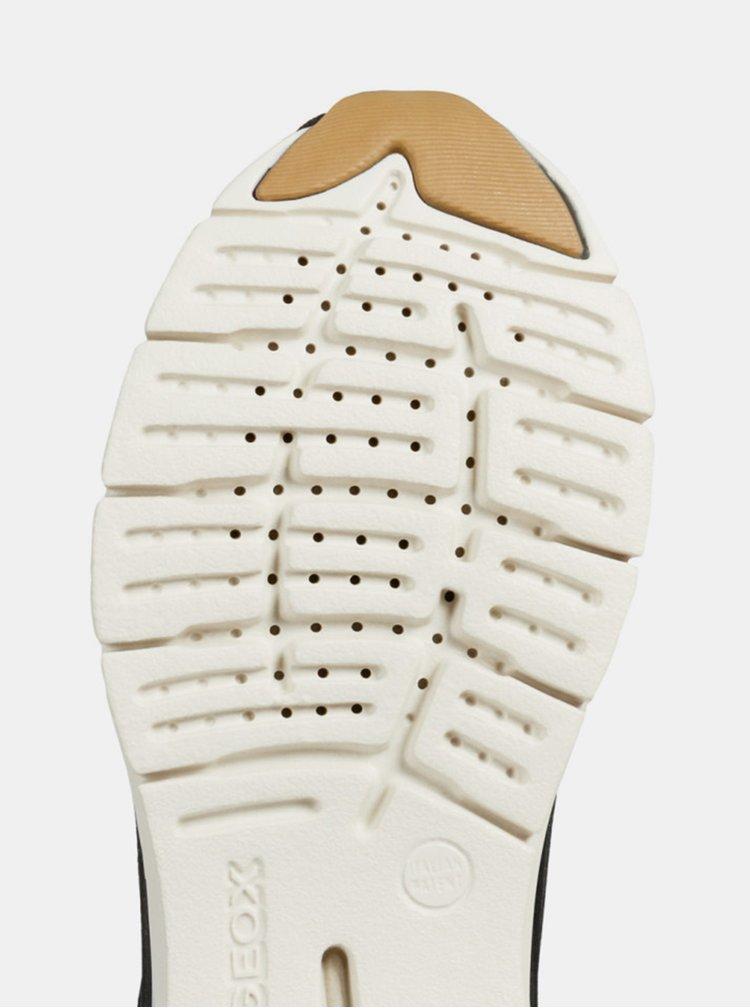 Čierne dámske semišové tenisky s metalickými odleskami Geox Sukie