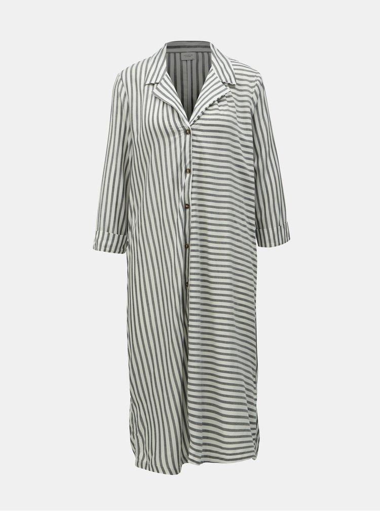 Sivo–biele pruhované košeľové šaty Jacqueline de Yong Karla
