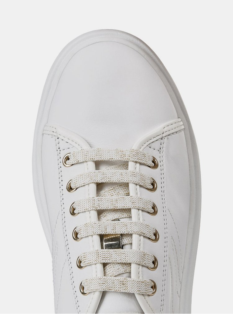 Biele dámske kožené tenisky Geox Ottaya