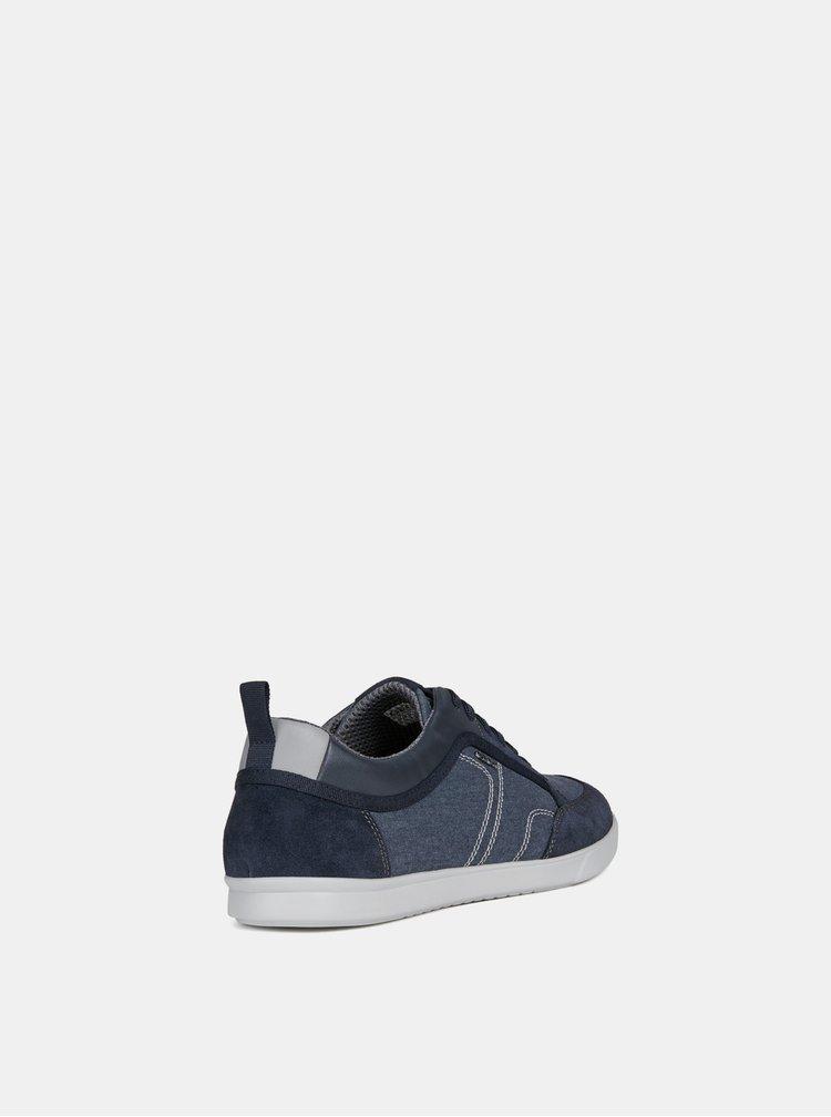 Pantofi sport barbatesti albastri cu detalii din piele intoarsa Geox Walee