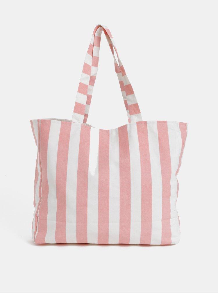 Bílo-růžová pruhovaná plážová taška Pieces Beth