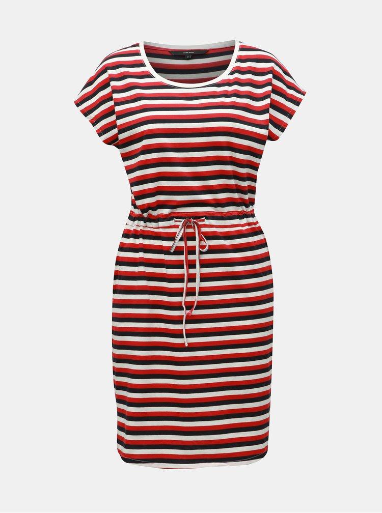 Bílo-červené pruhované šaty s kapsami VERO MODA April