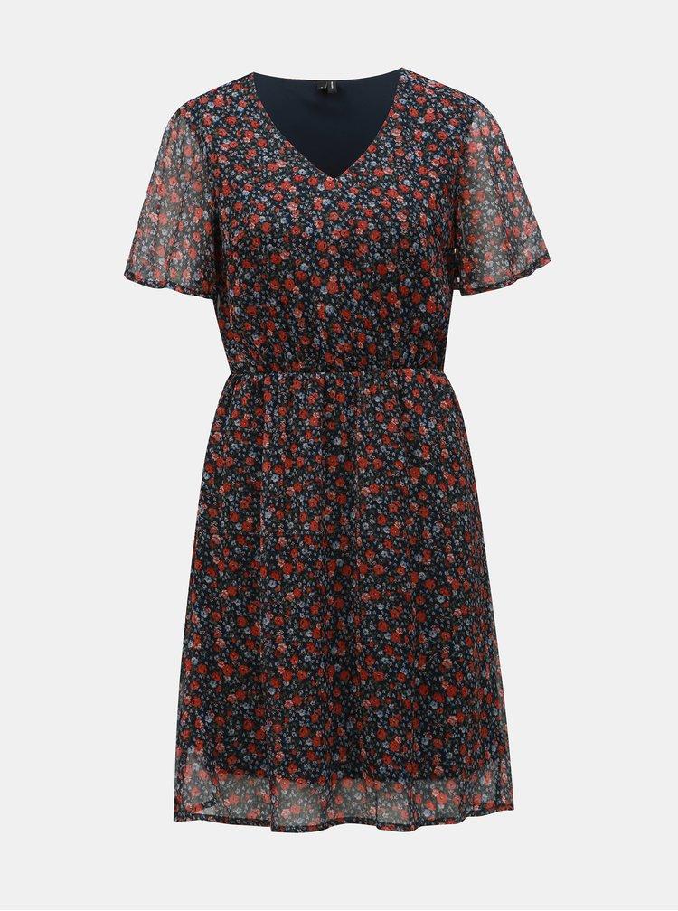Tmavomodré kvetované šaty VERO MODA Wonda