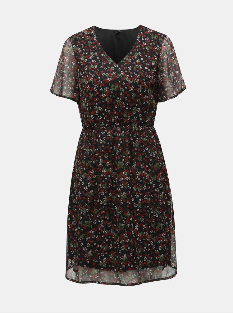 Černé květované šaty VERO MODA Wonda