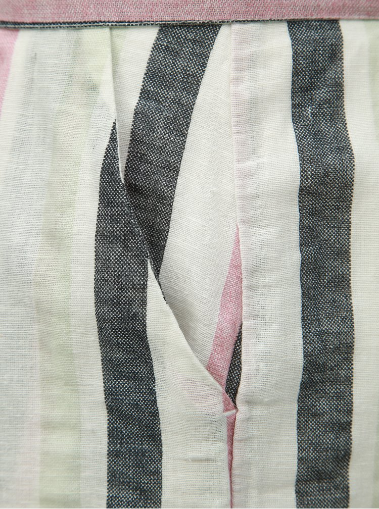 Šedo-bílé pruhované kraťasy s příměsí lnu VERO MODA Tavi
