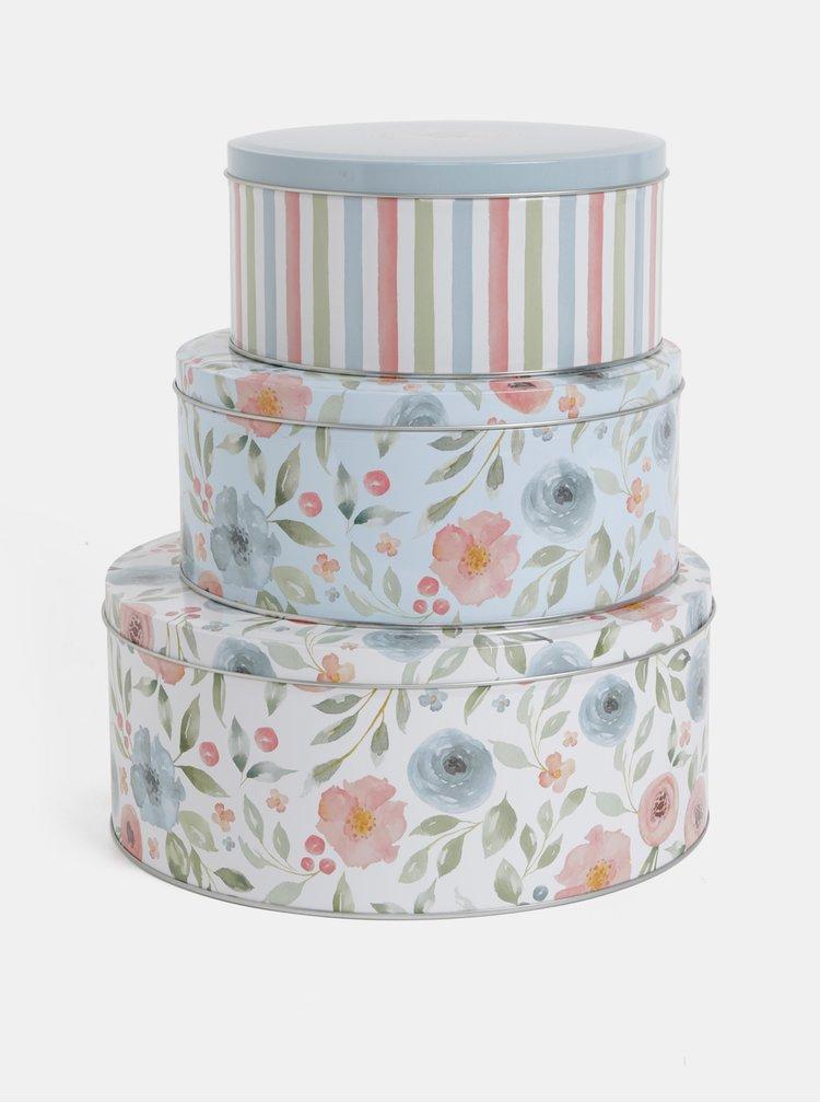 Set de 3 cutii crem si albastru florala Cooksmart
