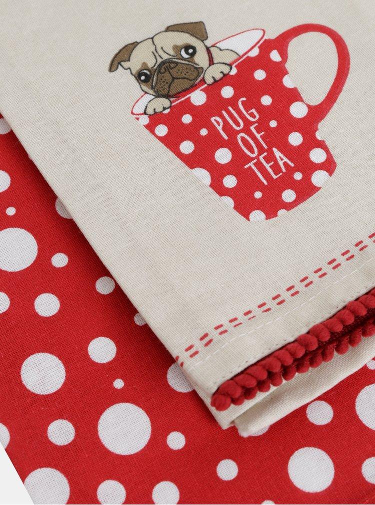 Sada dvou utěrek v červeno-krémové barvě Cooksmart
