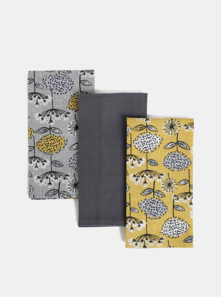 Sada tří květovaných utěrek v hořčicovo-šedé barvě Cooksmart