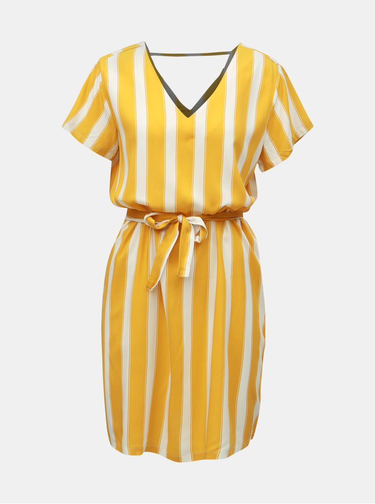 Bielo–žlté pruhované šaty ONLY Nova