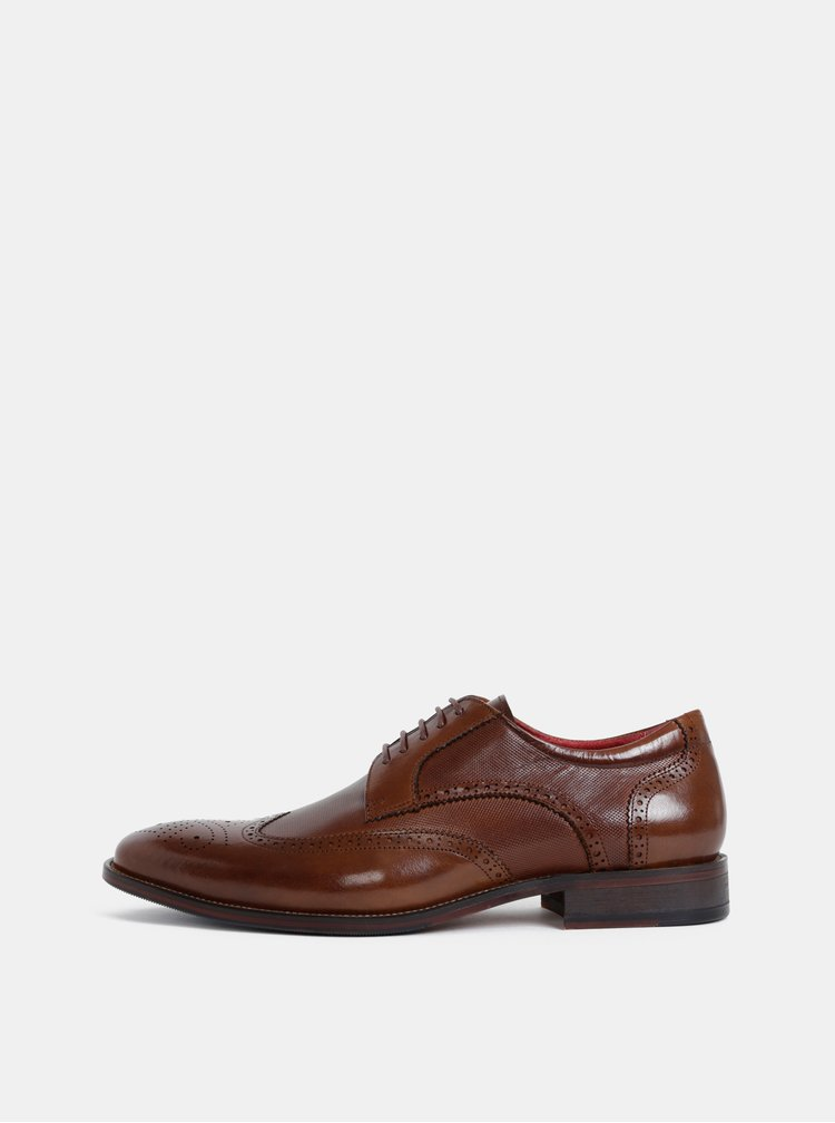 Pantofi barbatesti maro inchis din piele cu detalii brogue Dice Reid