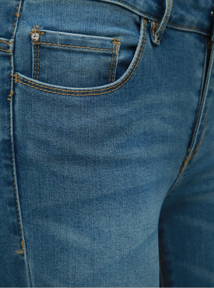 Blugi albastri skinny fit cu aplicatie ONLY Carmen