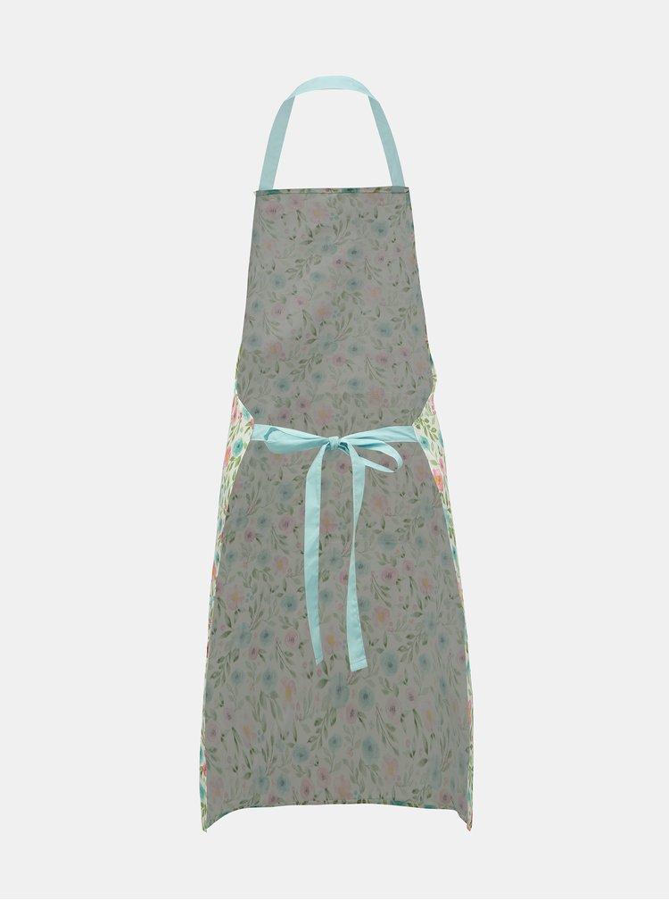 Bílá květovaná zástěra Cooksmart