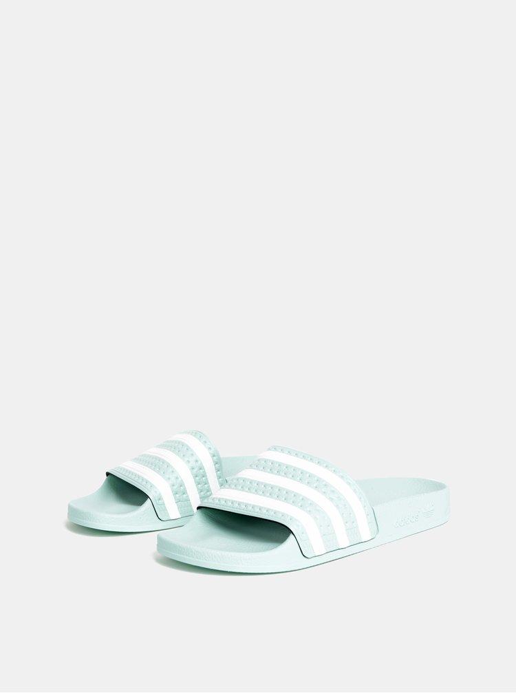 Mentolové dámske pruhované šľapky adidas Originals Adilette