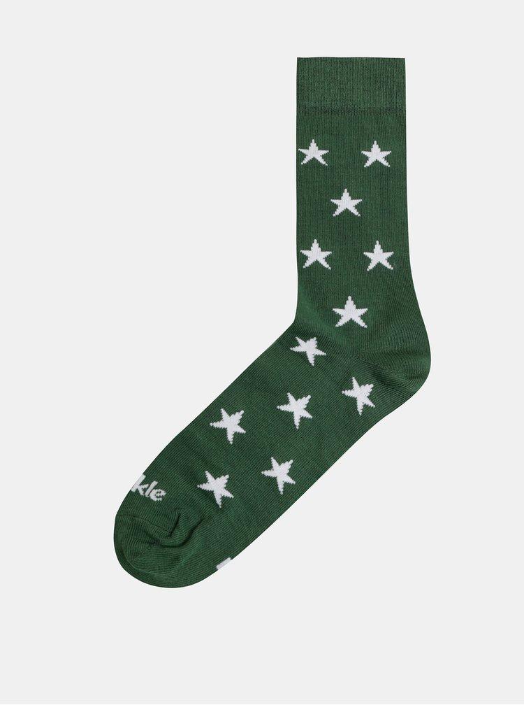 Zelené vzorované ponožky Fusakle Hviezda v lese