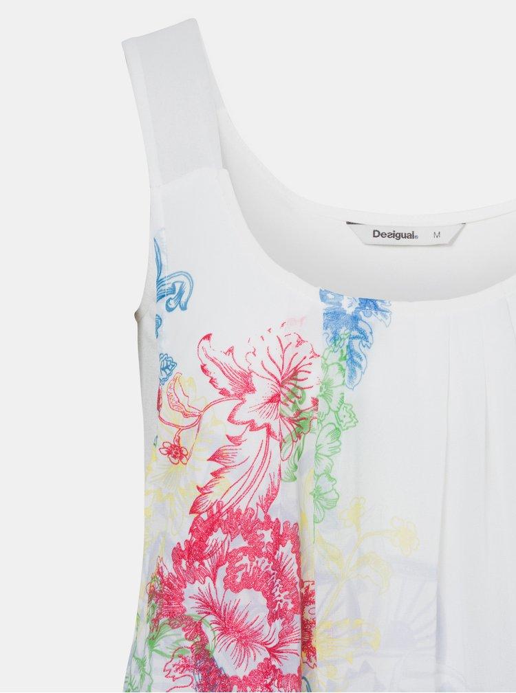 Bílý květovaný top Desigual Nuria