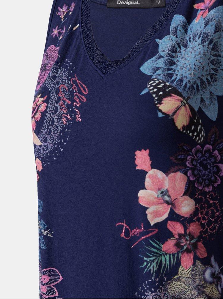 Top albastru inchis floral Desigual Obi