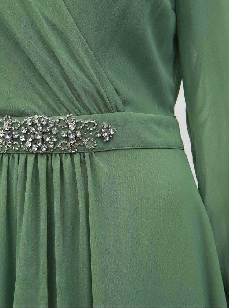 Zelené maxišaty s priesvitnými rukávmi Dorothy Perkins
