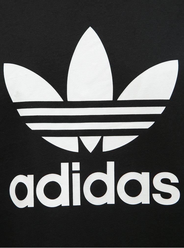 Tricou barbatesc negru cu imprimeu adidas Originals Trefoil