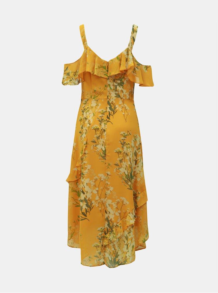 Žlté kvetované šaty s volánmi Dorothy Perkins