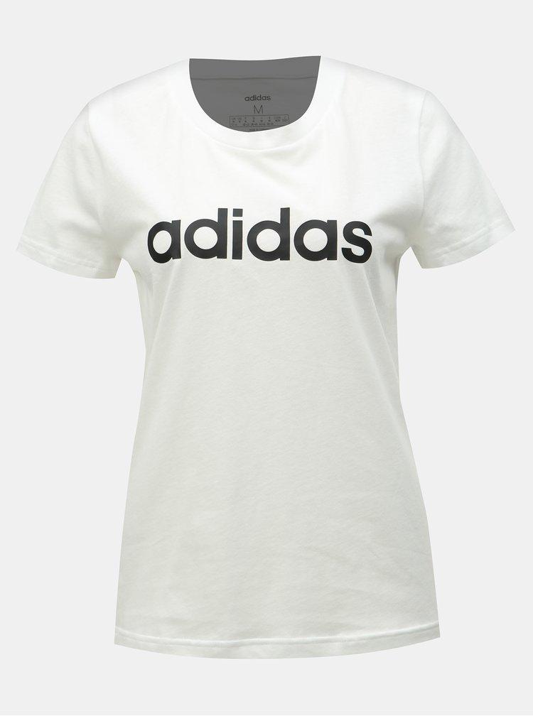 Bílé dámské slim fit tričko s potiskem adidas CORE