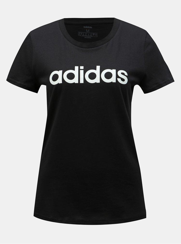 Černé dámské slim fit tričko s potiskem adidas CORE