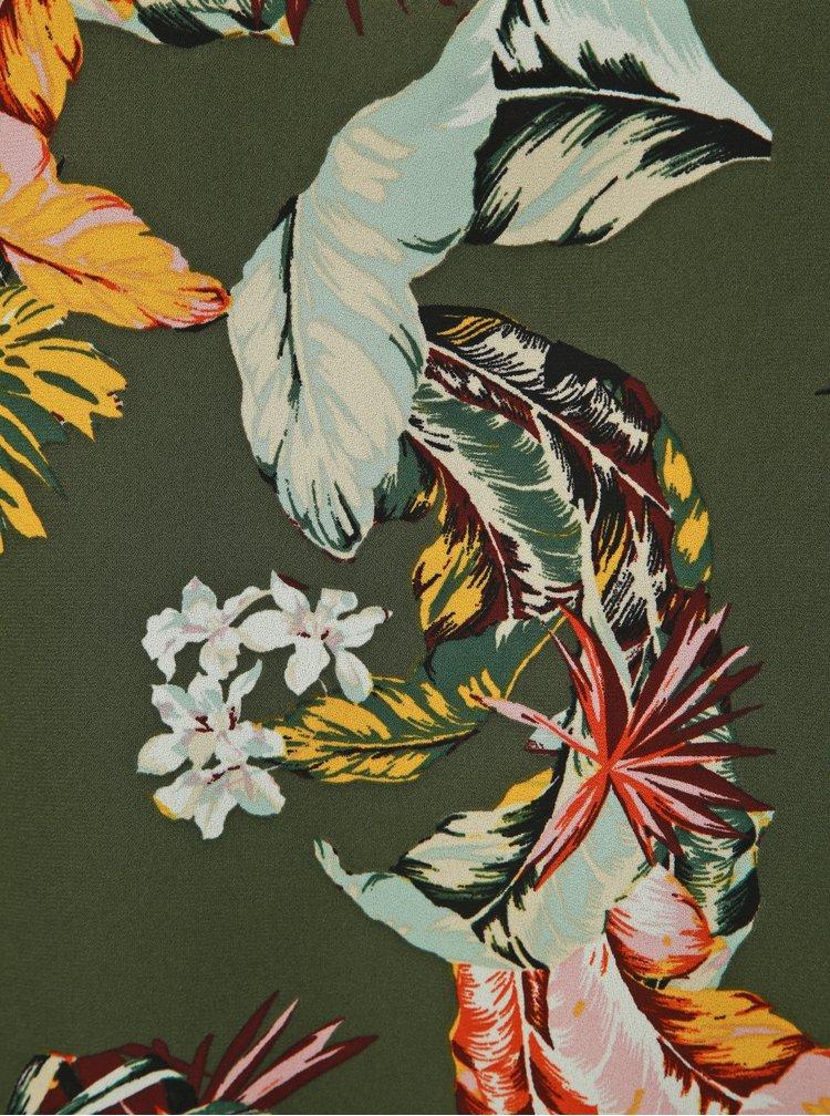 Khaki květovaný top Dorothy Perkins Tall