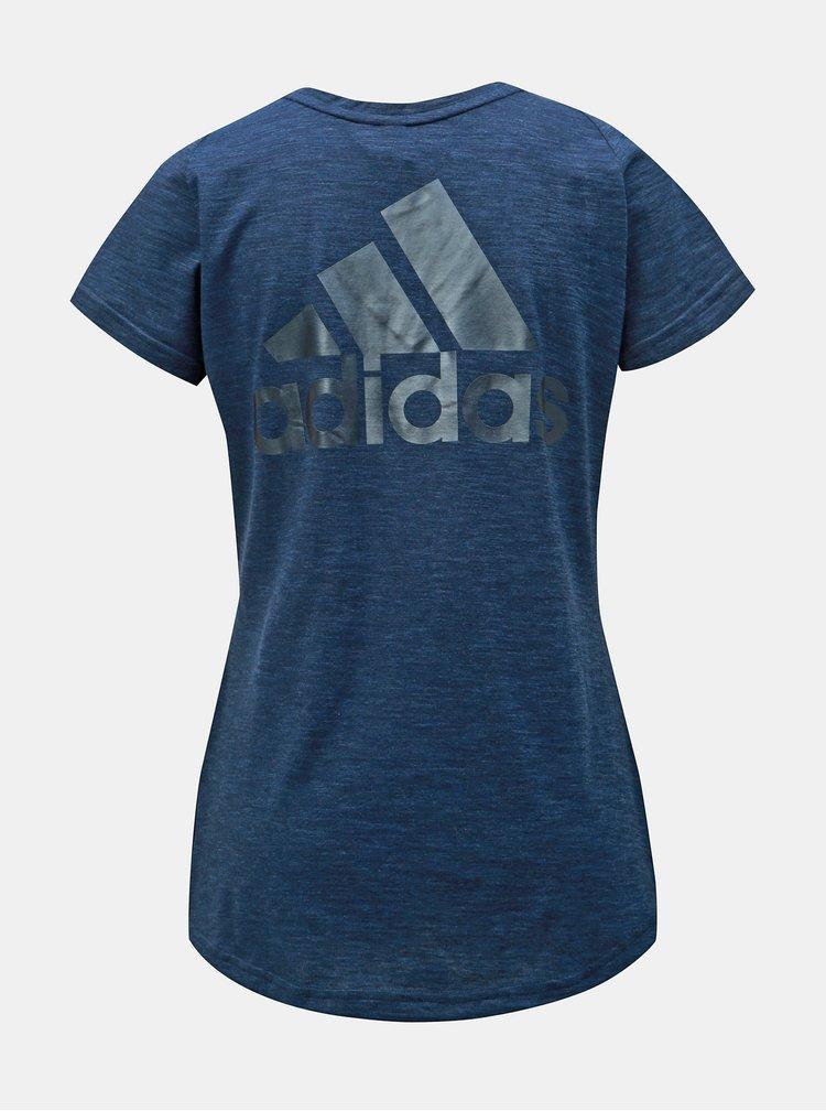 Tmavomodré dámske melírované tričko s potlačou adidas Performance Winners