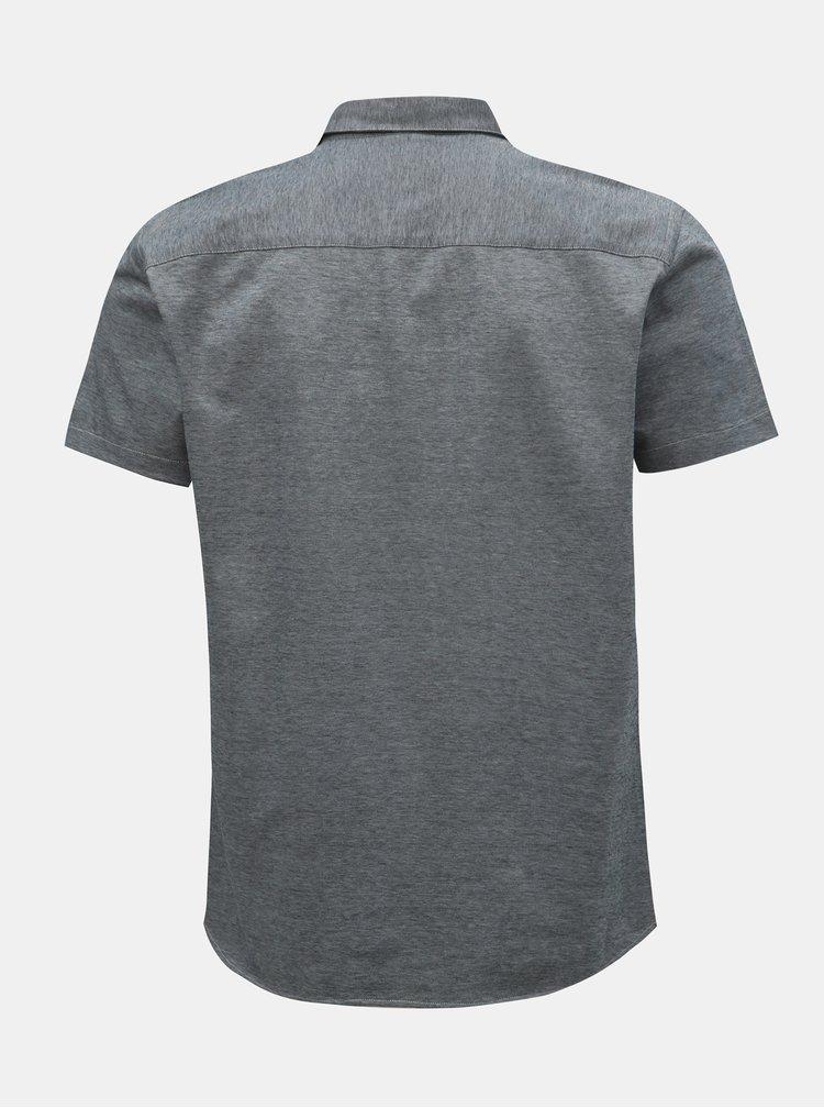 Sivá melírovaná slim fit košeľa s krátkym rukávom Selected Homme