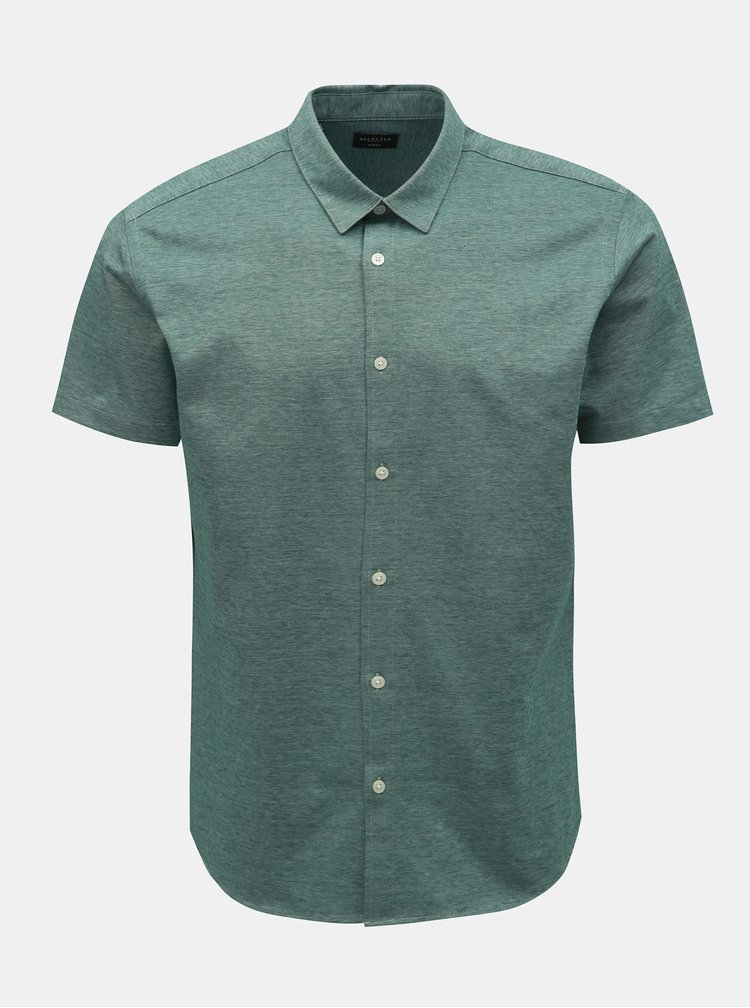 Camasa verde melanj slim fit cu maneci scurte Selected Homme