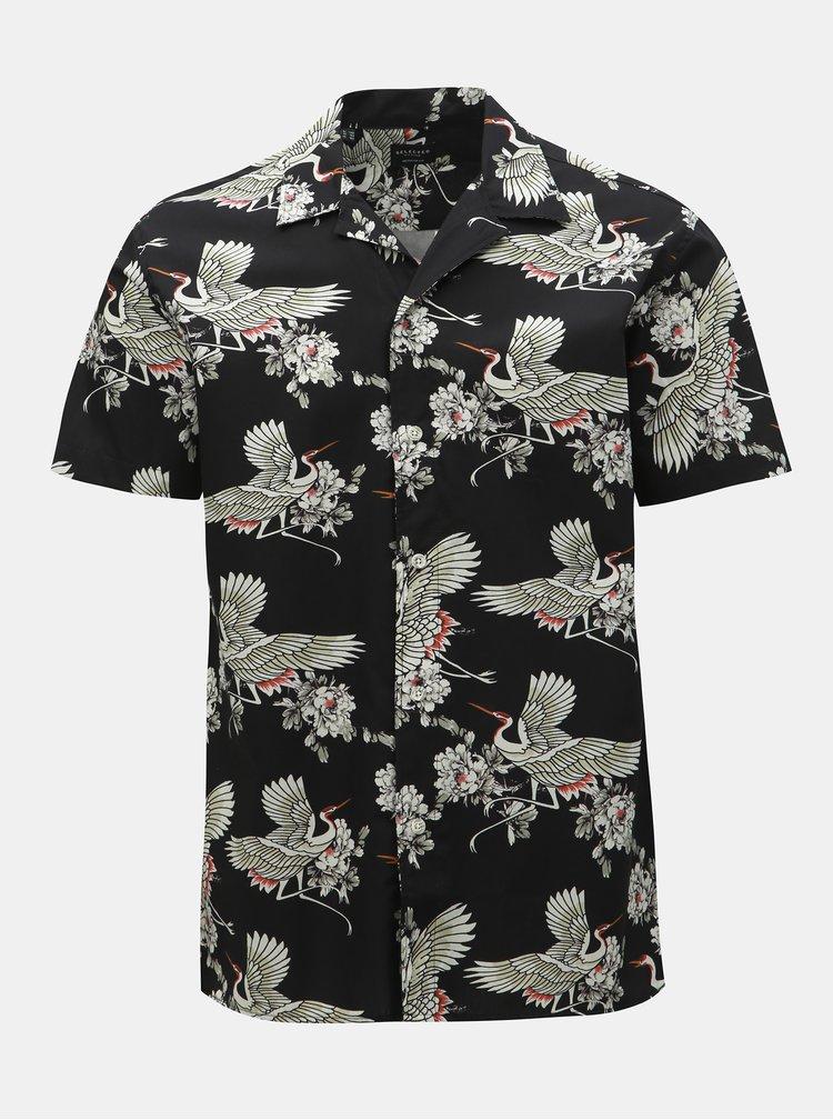 Čierna vzorovaná regular fit košeľa s krátkym rukávom Selected Homme