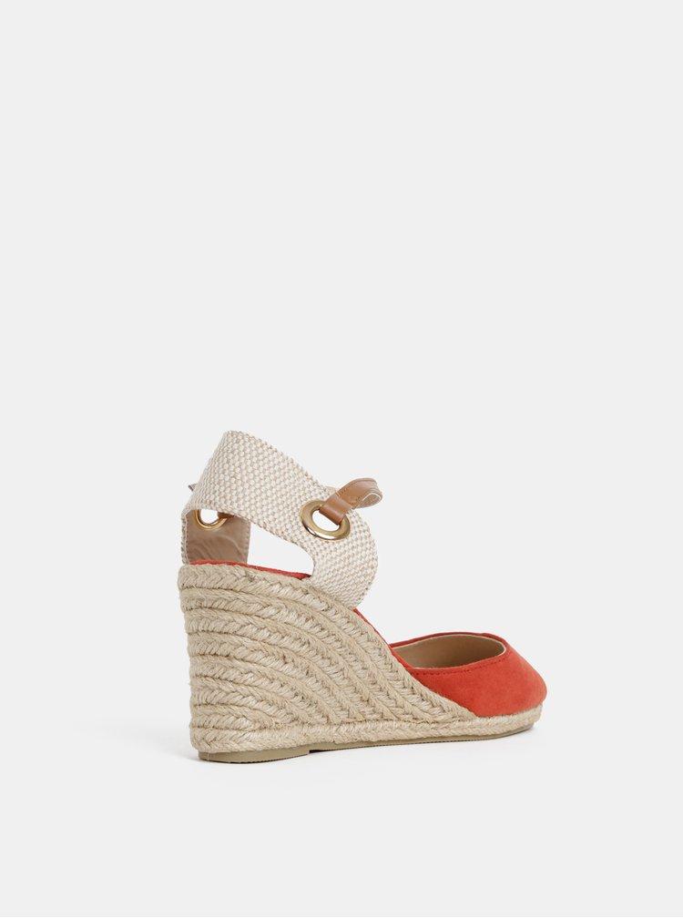 Červené sandále na plnom podpätku v semišovej úprave Dorothy Perkins