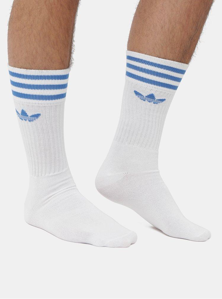 Set de 3 perechi de sosete barbatesti albastru si alb adidas Originals Solid Crew
