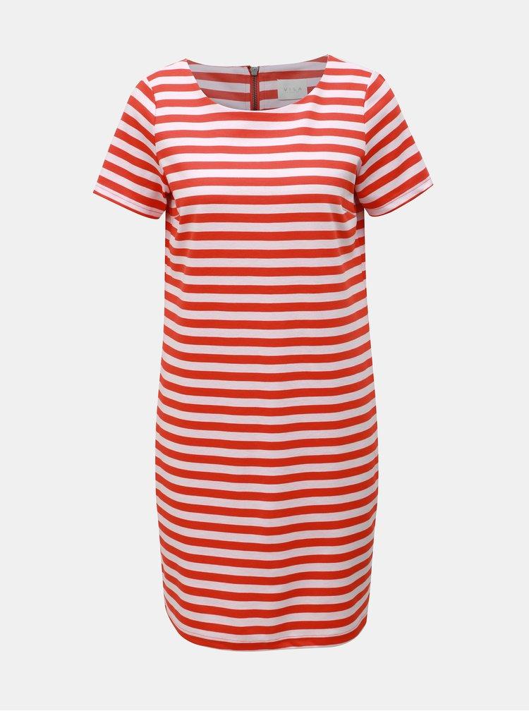 Červené pruhované šaty VILA Tinny