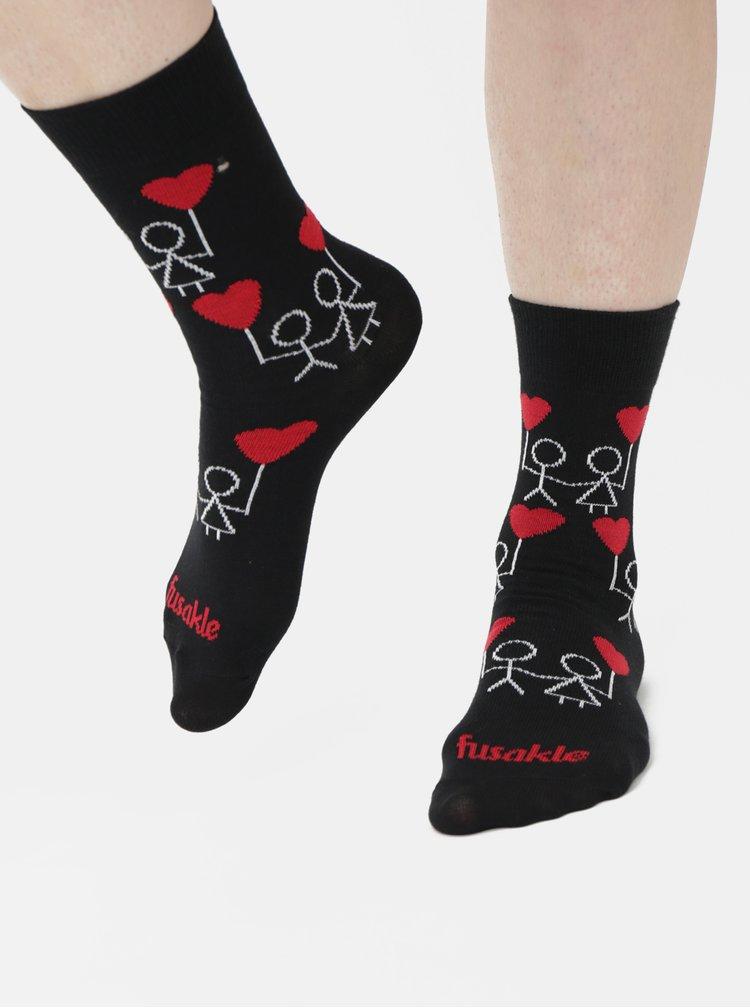 Čierne vzorované ponožky Fusakle Frajeri