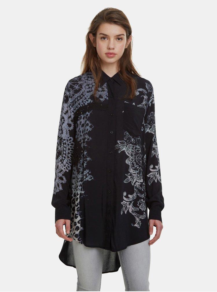 Čierna vzorovaná košeľa Desigual Amandine