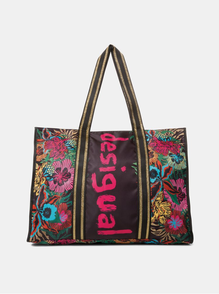 Černá květovaná nepromokavá taška s pouzdrem 2v1 Desigual Flower Beach