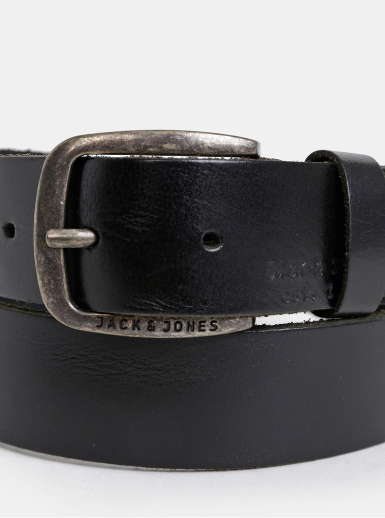 Čierny kožený opasok Jack & Jones Paul