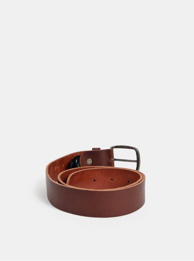 Tmavohnedý kožený opasok Jack & Jones Paul