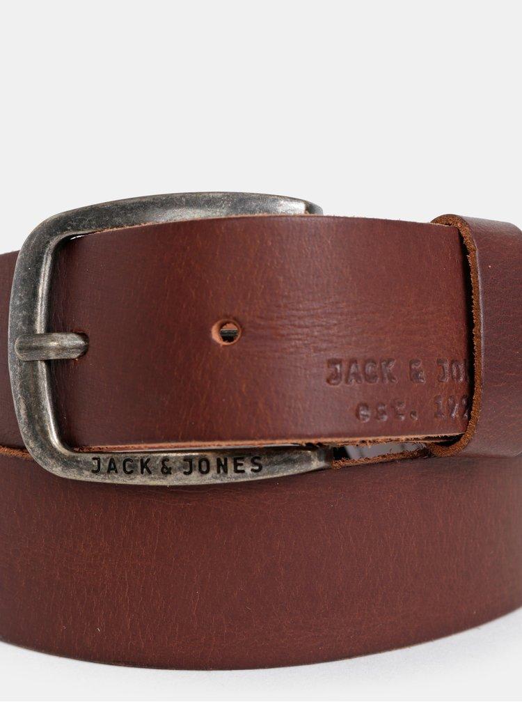 Curea maro inchis din piele naturala - Jack & Jones Paul